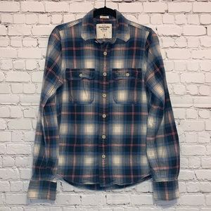 A&F Muscle Plaid Flannel Button Down Shirt